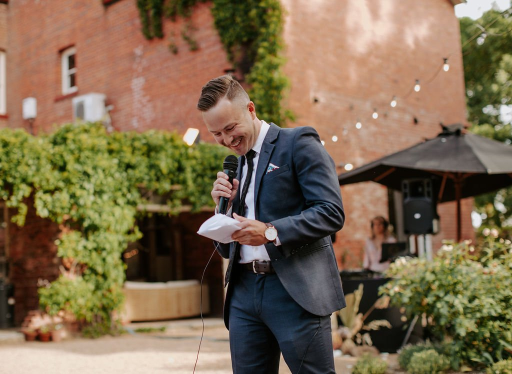 Groom Speaks At Melbourne Wedding Whilst DJ Plays Music In Background