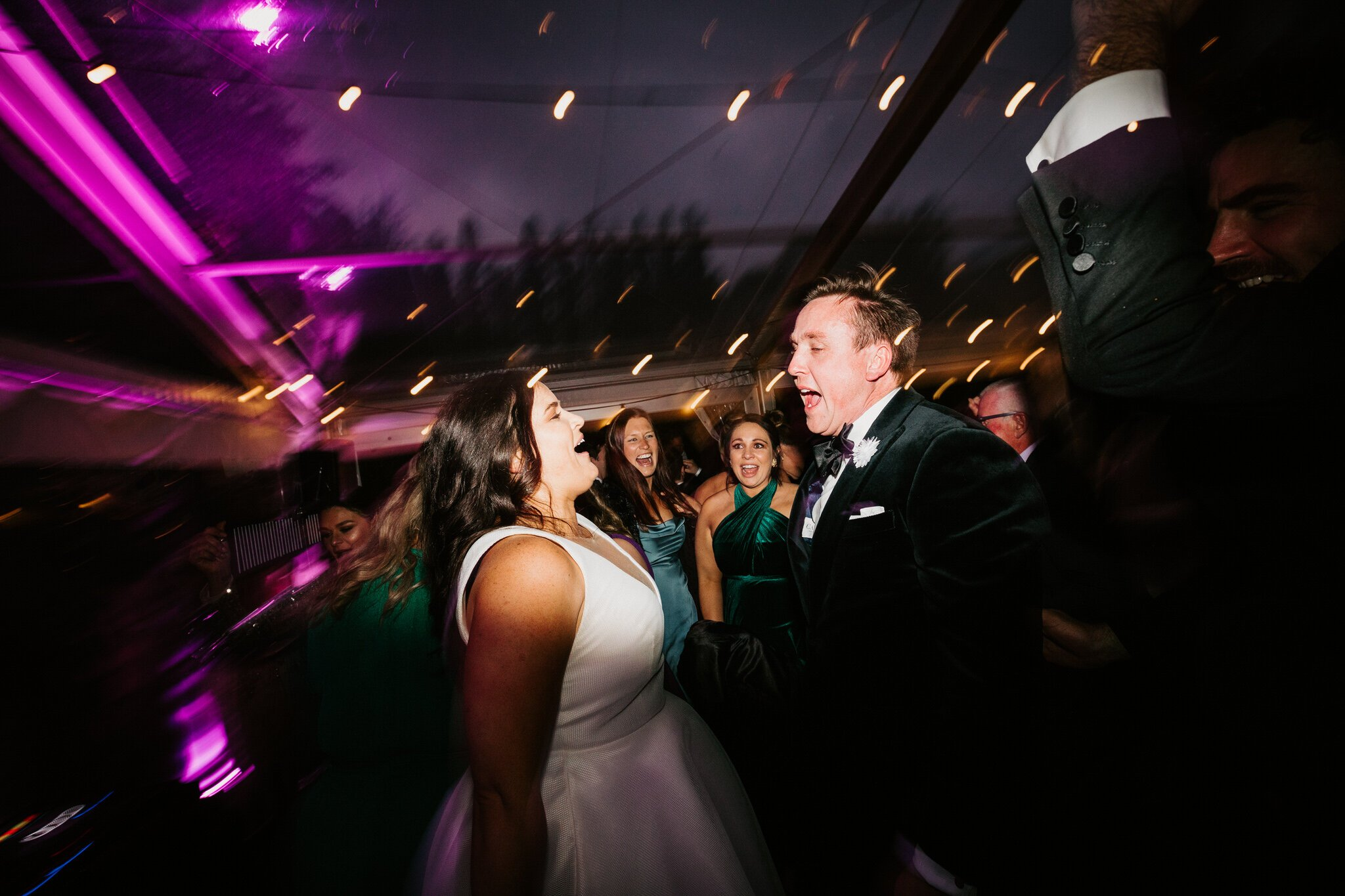 Bride And Groom Dancing In Marquee With Guests At Willow And Stone Estate Ballarat