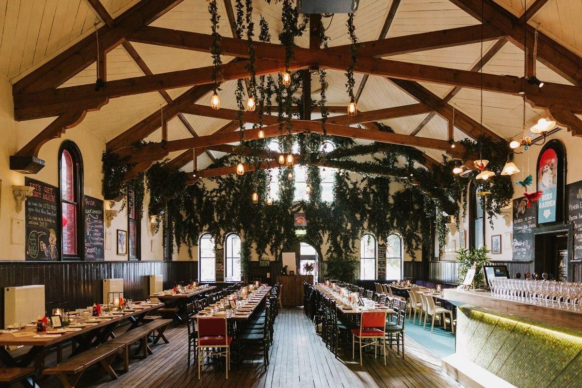 Brunswick Mess Hall Wedding Table Setting Arrangement