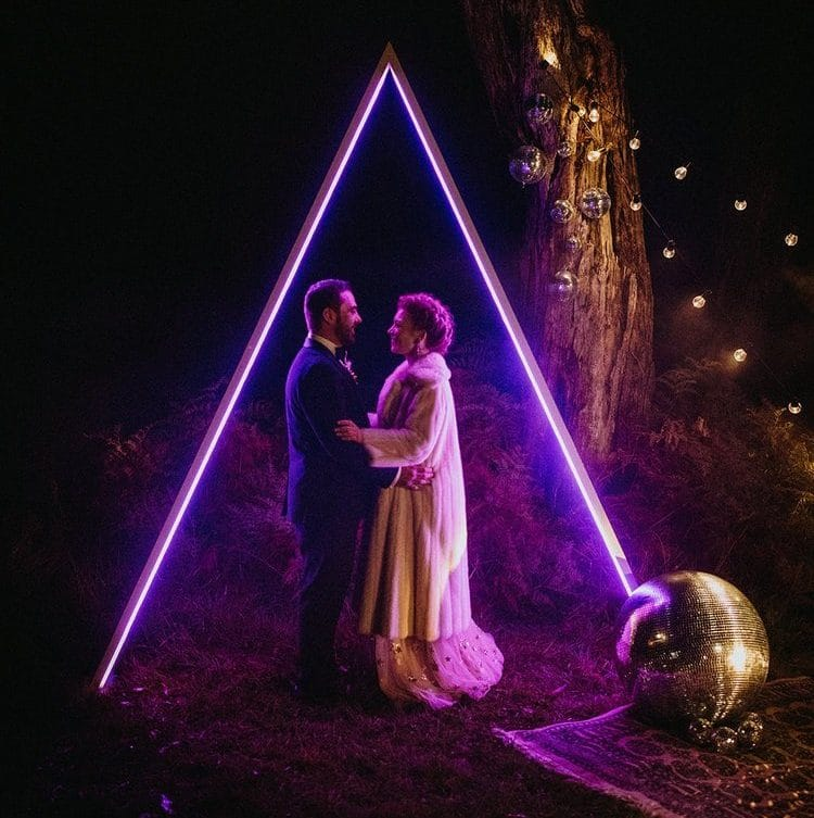 Melbourne-Bride-Groom-With-Neon-Arbour-And-Disco-Ball