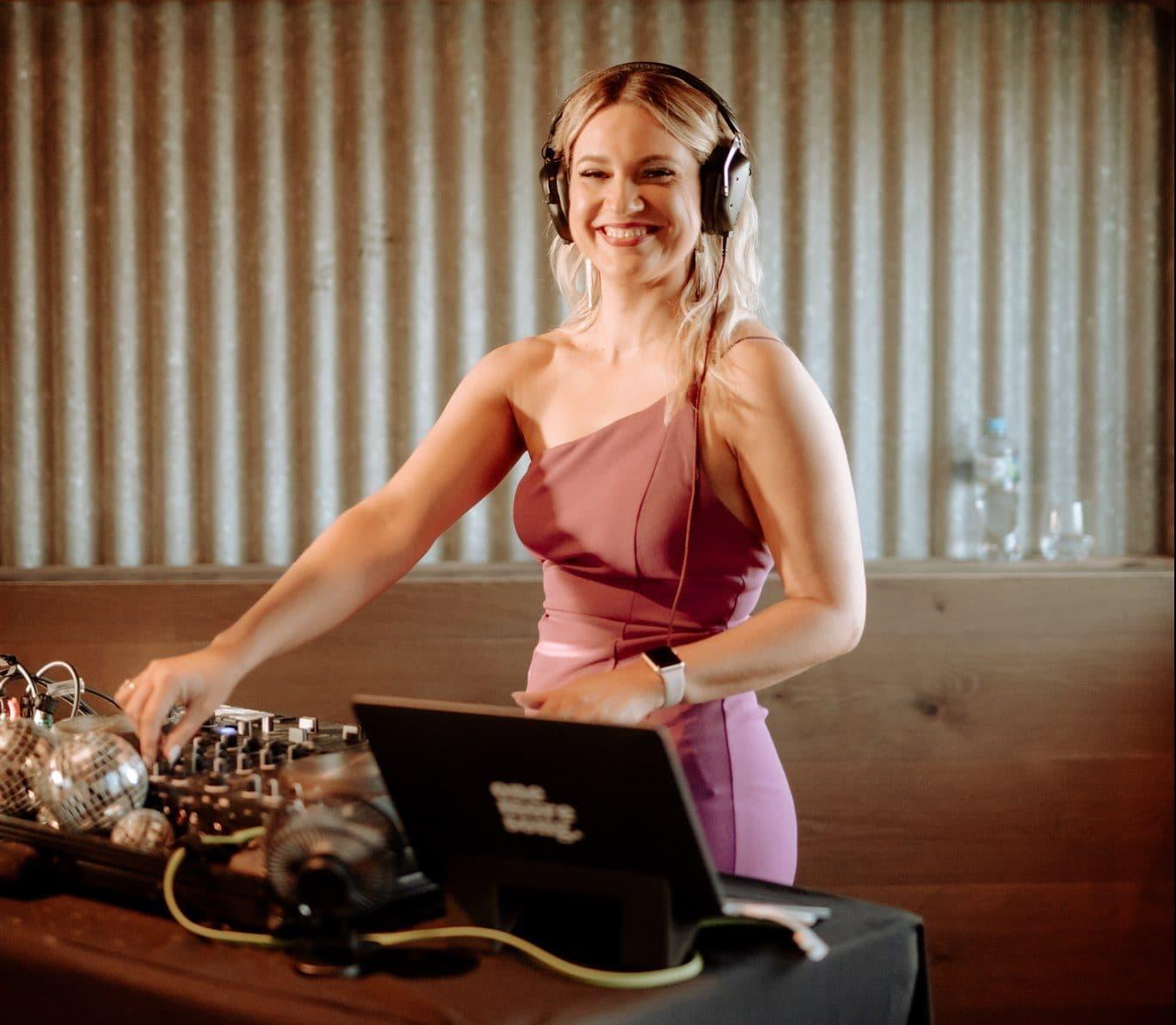 Melbourne Female DJ Smiling at Marnong Estate Wedding