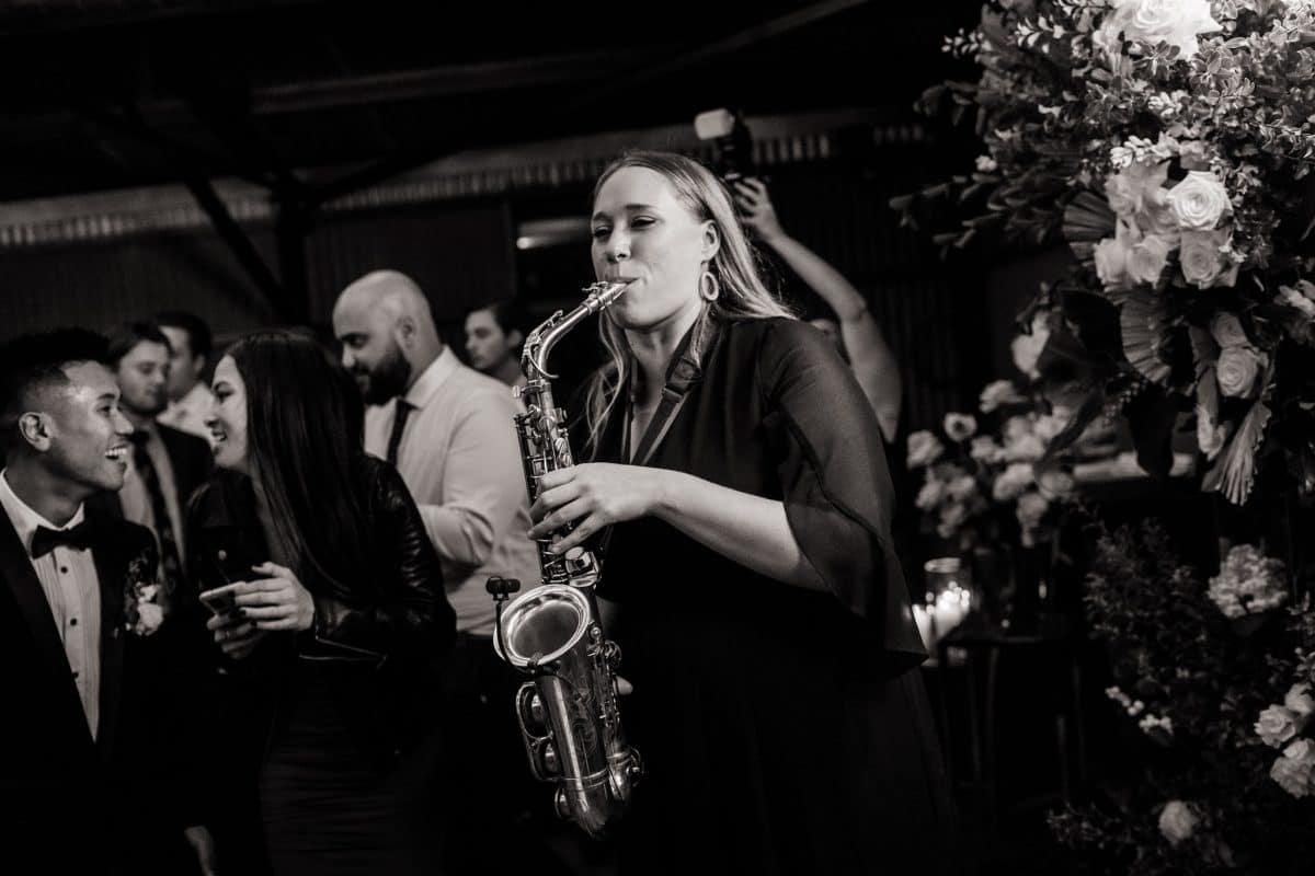 Female Melbourne Sax Player on Wedding Dance Floor