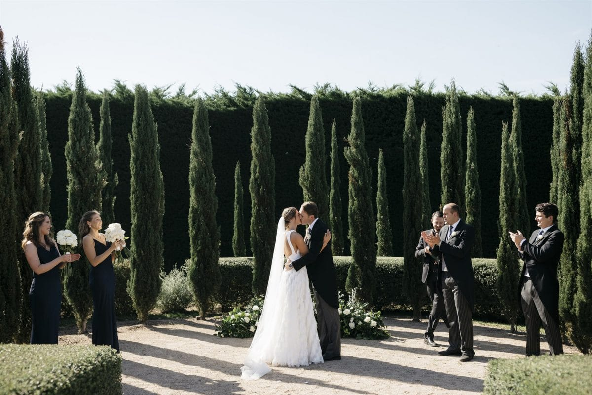 Bride And Groom Kiss After Wedding Ceremony At Coombe Yarra Valley