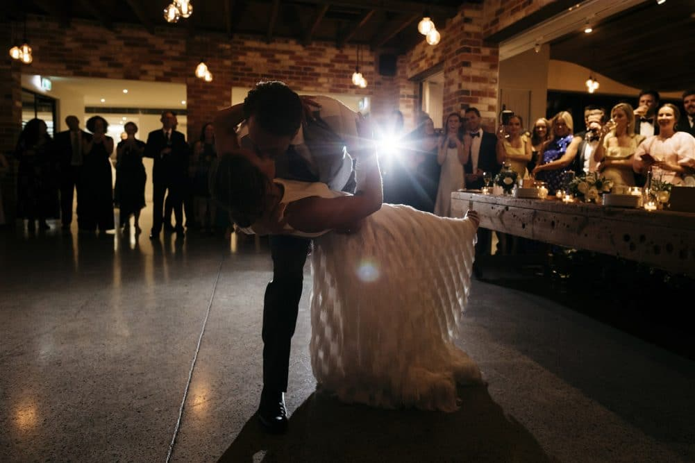 Bride And Groom Dip During First Dance At Coombe Yarra Valley Wedding Reception