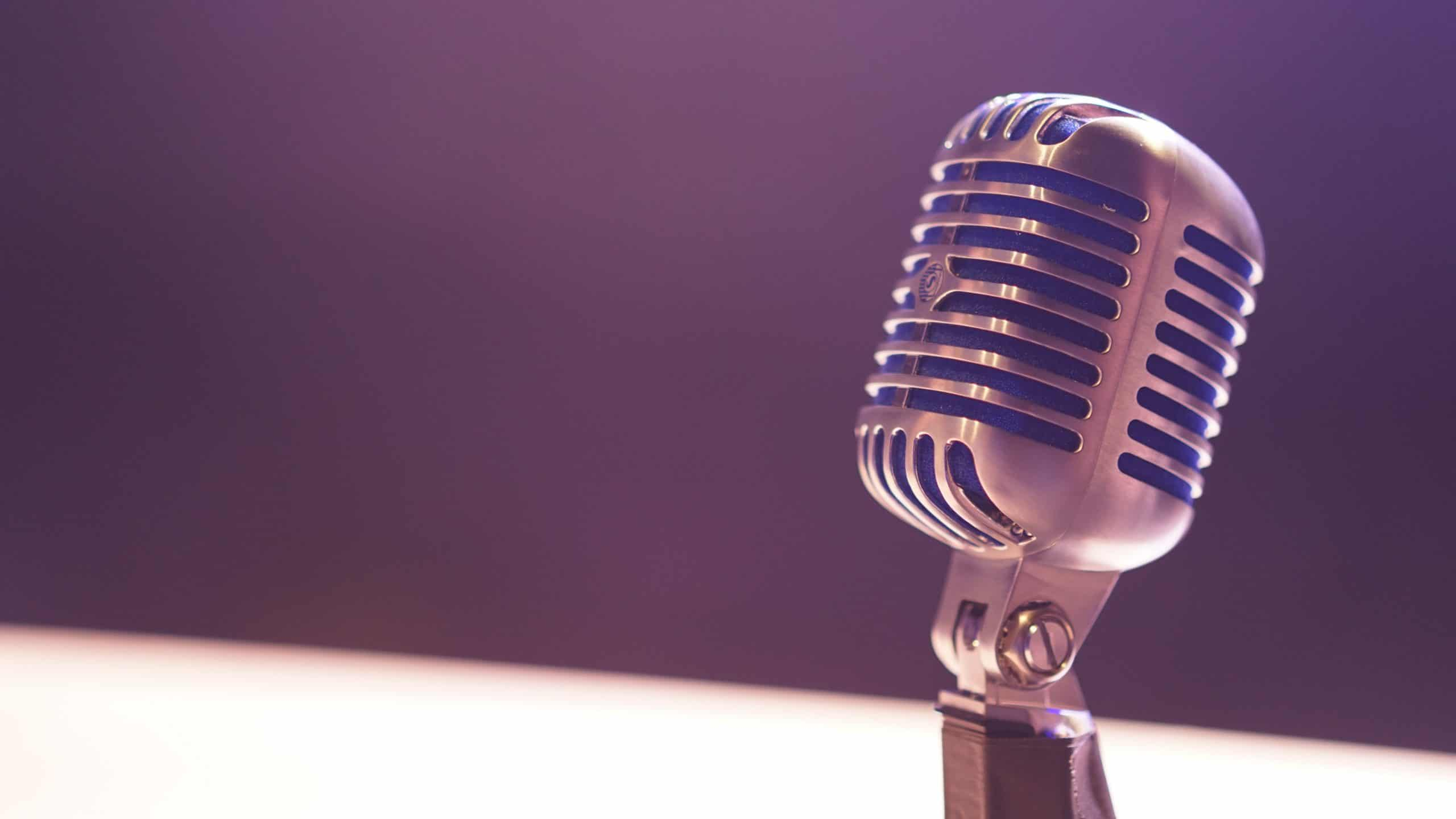 Podcast Microphone On Purple Background