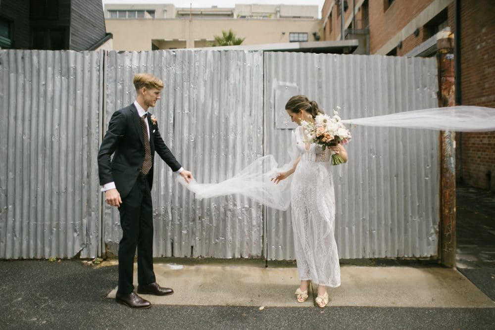 Bride And Groom Pose In Collingwood Photographed By Brown Paper Parcel